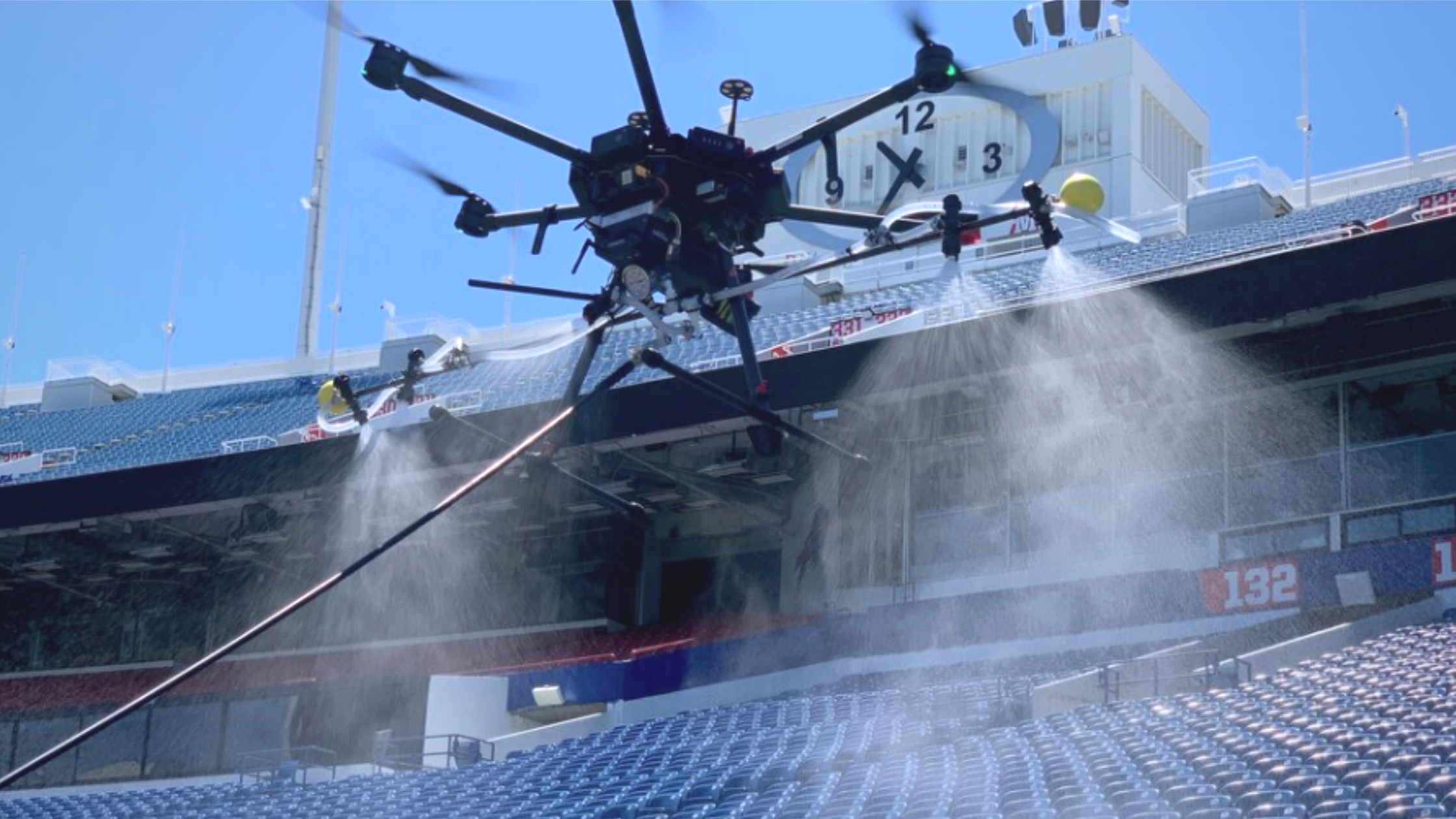 Disinfecting Large Venues with Drones